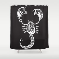 scorpio Shower Curtains featuring Scorpio by Bazarovart