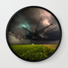 May Thunderstorm - Twisting Storm Over House in Colorado Wall Clock