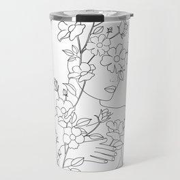 Minimal Line Art Woman with Wild Roses Travel Mug
