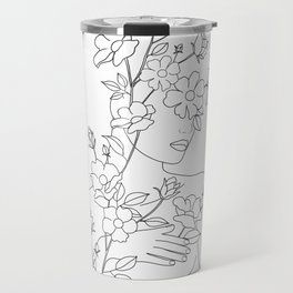 Minimal Line Art Woman with Wild Roses Travel Mug
