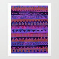 PATTERN {Tribal Stripe- Purple} Art Print