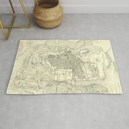 Vintage Map of Jerusalem Israel (1859) Rug