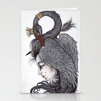 caitlin hackett Stationery Cards featuring Swan Song art print by Caitlin Hackett