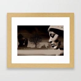 TALK TO THE LION... - sepia Framed Art Print