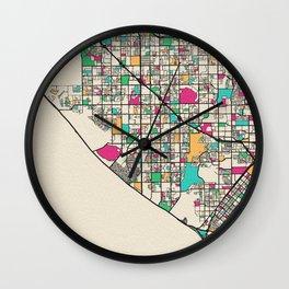 Colorful City Maps: Huntington Beach, California Wall Clock