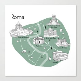 Mapping Roma - Green Canvas Print