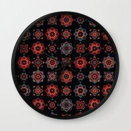 Folk Art Mosaic Tile Pattern Red Wall Clock