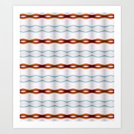 Simple Stitch Aqua Whit & Copper Stripes Art Print