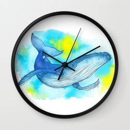 Humpback Whale Watercolor Wall Clock