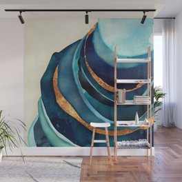Abstract Blue with Gold Wall Mural