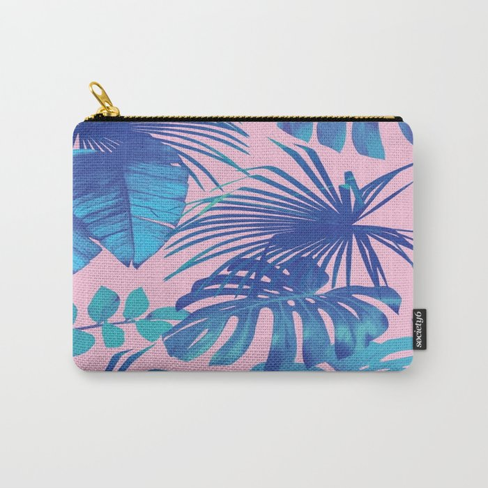 tropical leaf pattern pink  Carry-All Pouch