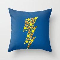 lightning Throw Pillows featuring Lightning by Danielle Podeszek