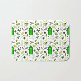 Colourful Gin Cocktails and Ingredients Cocktail Bar Pattern Bath Mat