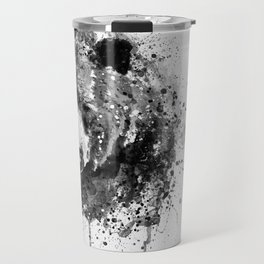 Black And White Half Faced Grizzly Bear Travel Mug