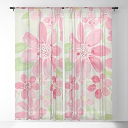 Cheerful Pink Cherry Daisy Watercolor Flowers Sheer Curtain