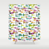 fishing Shower Curtains featuring Fishing by Mofa Barcelona