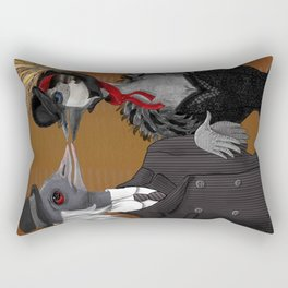 Demoiselle Crane and Grey Crowned Crane Rectangular Pillow
