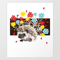 hedgehog Art Prints featuring hedgehog by Caracheng