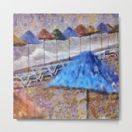 Beach Umbrellas In Impressionist Style Metal Print