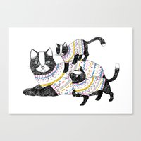kittens Canvas Prints featuring Kittens. by Lu Green