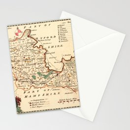 Map Of Berkshire 1758 Stationery Cards