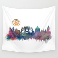 prague Wall Tapestries featuring Prague skyline by jbjart