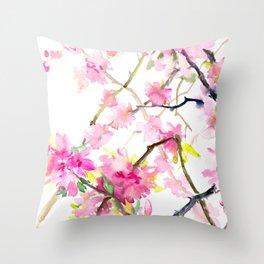 Cherry Blossom, Sakura, Japanese Floral art Throw Pillow