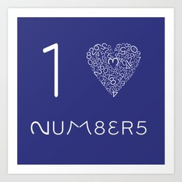 I heart Numbers Art Print