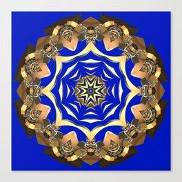 Gold Ornament Fractal (zaffre blue background) Canvas Print