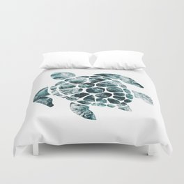 Sea Turtle - Turquoise Ocean Waves Duvet Cover