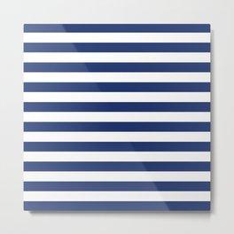 Horizontal Navy Stripes Pattern Metal Print