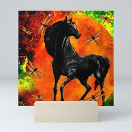 HORSE MOON AND DRAGONFLY VISIONS Mini Art Print