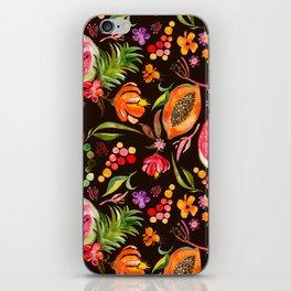 Tropical Fruit Festival in Black   Frutas Tropicales en Negro iPhone Skin