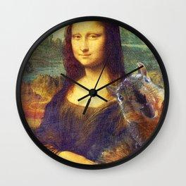 Mona Lisa Squirrel Photo Bomb Pop Art Wall Clock