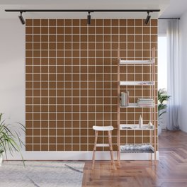 Russet - brown color -  White Lines Grid Pattern Wall Mural
