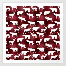 Plaid camping animals minimal bear moose deer nursery decor gender neutral woodland Art Print