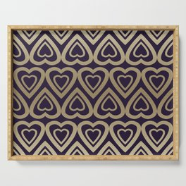 Golden Hearts Valentine - Gold & Navy Blue Serving Tray
