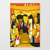 pulp Canvas Prints featuring Pulp Fiction by Ale Giorgini