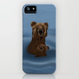 Grizzly Bear Mama and Her Cub Swimming iPhone Case