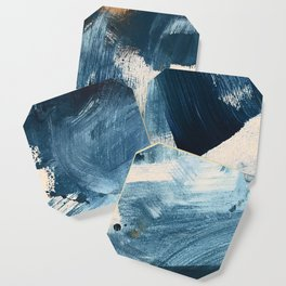 Against the Current: A bold, minimal abstract acrylic piece in blue, white and gold Coaster