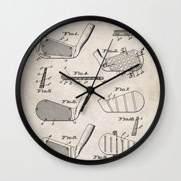 Golf Clubs Patent - Golfing Art - Antique Wall Clock