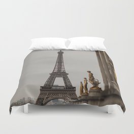 View of Eiffel Tower and Trocadero Statues Duvet Cover