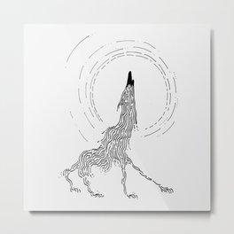 Line Wolf Metal Print