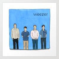 weezer Art Prints featuring Weezer by Michael Constantine