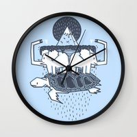 discworld Wall Clocks featuring The Flat Earth by Lucas Scialabba :: Palitosci