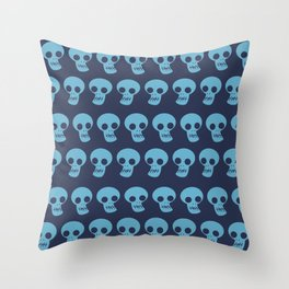 Funny skull in lines hand drawn on blue background illustration pattern Throw Pillow