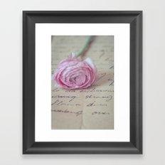 Love Letter With Ranunculus Framed Art Print