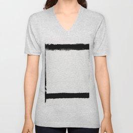 Square Strokes Black on White Unisex V-Neck