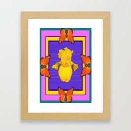 Contemporary Gold Iris Butterflies Purple-Teal Art Framed Art Print