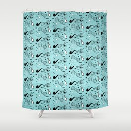 Vintage Hipster Elements Pattern on blue Shower Curtain